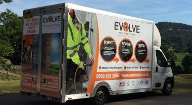 Evolve van in Welsh valley